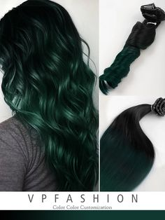 Off Black to Dark Green Mermaid Colorful Ombre Indian Remy Clip In Hair Extensions CS044 - Vpfashion