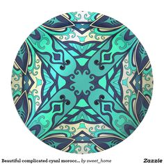 Beautiful complicated cyanl moroccan ornament. paper plate  Moroccan ornament make interior unique and add aesthetics sense. Ornament create in oriental tradition. #Home #decor #Room #accessories #Interior #decorating #Idea #Styles #abstract