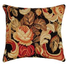 Cabbage Rose Needlepoint Pillow Palazzo