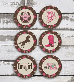 Vintage COWGIRL Cupcake Toppers Cowgirl Party by EniPixels