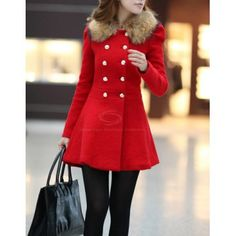 Fur Embellished Polo Callor Double-breasted Waisted Long Sleeves Slimming Women's Coat, RED, M in Jackets & Coats | DressLily.com