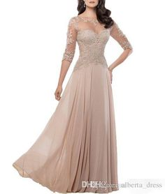 2016 Cheap Elegant Chiffon Mother Of Bride Dresses Sheer Jewel Neck Lace Appliques Long Formal Evening Occasion Dresses Custom Made_