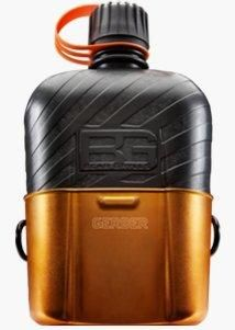 Gerber Bear Grylls - Canteen Water Bottle. Inspired by the classic military canteen and nesting cup, Bear Grylls and Gerber have updated the design with a BPA free water bottle, snug fitting nylon sheath and leak proof lock top.