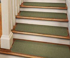 "Set of 12 TAPE-DOWN Carpet Stair Treads 8""x27"" OLIVE GREEN runner rugs - http://home-garden.goshoppins.com/rugs-carpets/set-of-12-tape-down-carpet-stair-treads-8x27-olive-green-runner-rugs/"