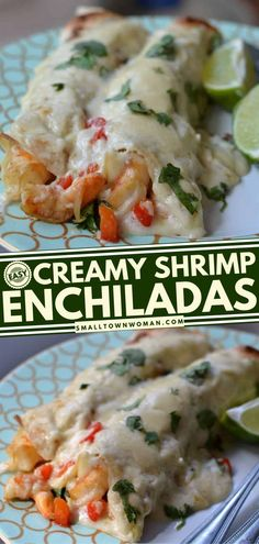 18 reviews · 40 minutes · Serves 6 · This Mexican dinner idea for tonight will bring your favorite seafood to your table! Creamy Shrimp Enchiladas mixed with shallots, red bell pepper and garlic wrapped up in creamy cheese sauce. Give… Shrimp Recipes For Dinner, Instant Pot Dinner Recipes, Seafood Recipes, Mexican Food Recipes, Creamy Shrimp Enchiladas, Seafood Enchiladas, Chicken Enchiladas, Crab Dishes, Mexican Dishes