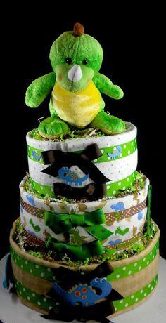 dino diaper cake