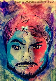 This is a portrait of someone dear to me. He's dyed his hair many different colours so I decided to follow up on that and paint his head and face with each colour and shade of hair I'm aware he's had in the past.