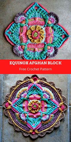 Boho Crochet Patterns, Crochet Mandala Pattern, Crochet Motifs, Crochet Blocks, Granny Square Crochet Pattern, Crochet Designs, Crochet Stitches, Crochet Afghans, Crochet Blankets