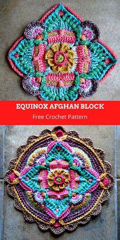 Boho Crochet Patterns, Crochet Mandala Pattern, Crochet Motifs, Crochet Blocks, Granny Square Crochet Pattern, Crochet Stitches, Crochet Afghans, Crochet Blankets, Double Crochet