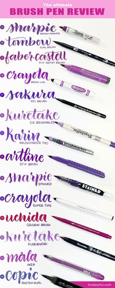 Read this post before buying a brush pen to practice or lean brush calligraphy + brush lettering; you will learn everything you need to know about brush pens and the which ones are the best for beginners Lettering Brush, Brush Pen Calligraphy, Hand Lettering Tutorial, Hand Lettering Alphabet, How To Write Calligraphy, Calligraphy Handwriting, Creative Lettering, Calligraphy Letters, Chalk Lettering