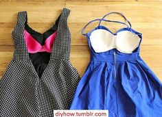 For a backless dress, or sundress SEW THE CUPS OF AN OLD BRA IN IT, so you can skip the bra and straps; Summer or evening fashion.  Upcycle, Recycle, Salvage, diy, thrift, flea, repurpose, refashion!  For vintage ideas and goods shop at Estate ReSale & ReDesign, Bonita Springs, FL