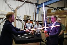 Princes William and Harry duel with lightsabers and chat to Chewbacca on the Star Wars set at Pinewood