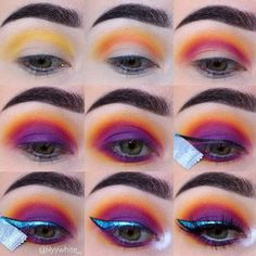 WEBSTA @ lilyywhite_ - another step by step tutorial of a popular look I've posted previously but with different colours! remember between each colour go back to the colour before it, adding a tad more colour to it so that it remains bright and blended Also never be ashamed to use tape to practice or like me, ensure that I don't mess up by the end of a look Products - @smashboxcosmetics - Bold eye palette @morphebrushes - 35b palette and brushes @nyxcosmetics_australia - blue metall