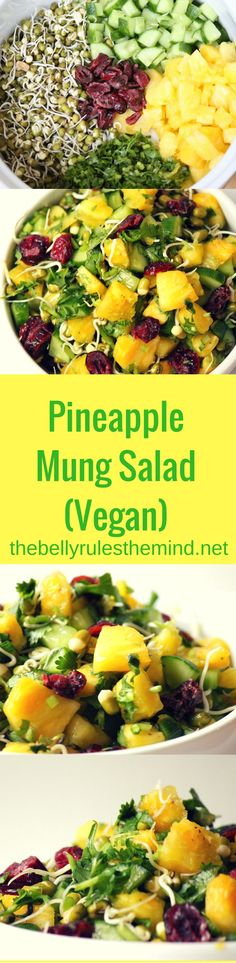 Pineapple Mung Salad is a perfect blend of flavors and texture. Sweet and tangy Pineapple along with the crunchy sprouted mung beans and the dressing as an element of zing |www.thebellyrulesthemind.net