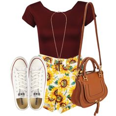 A fashion look from September 2013 featuring Influence tops, Converse sneakers and Chloé handbags. Browse and shop related looks.
