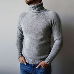 Crochet Projects, Knit Crochet, Men Sweater, Turtle Neck, Mens Fashion, Knitting, Casual, Sweaters, Outfits