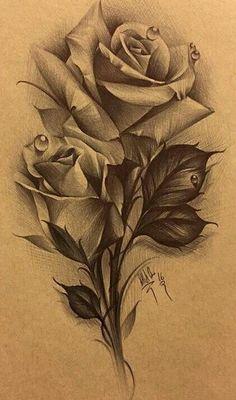 Flowers - tattoo pattern- Blumen – Tattoo Muster flowers Best Picture For Tattoo Pattern star For Yo Rose Drawing Tattoo, Tattoo Design Drawings, Tattoo Sketches, Realistic Rose Tattoo, Bild Tattoos, Body Art Tattoos, Sleeve Tattoos, Rose Flower Tattoos, Flower Tattoo Designs
