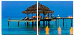 Wholesale Interiors VC-2069AB Dinner in the Tropics Mounted Photography Print Diptych - Each