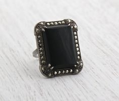 Vintage Marcasite & Onyx Black Stone Ring - Size 5 1/4 Art Deco Sterling Silver Chunky Jewelry / Rectangular Statement