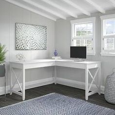 Beachcrest Home Cyra L Shaped Desk & Reviews | Wayfair Home Office Space, Home Office Design, Home Office Decor, Home Decor, Home Office Furniture Ideas, At Home Office Ideas, Guest Bedroom Home Office, White Office Furniture, Office Spaces