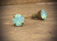 Mint Green Opal Stud Earrings... Divine.
