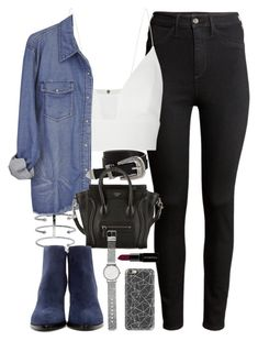 """""""Outfit with blue suede boots for spring"""" by ferned ❤ liked on Polyvore featuring H&M, Narciso Rodriguez, ASOS, CÉLINE, Jennifer Fisher, Alexander Wang, Casetify, Witchery and Smashbox"""