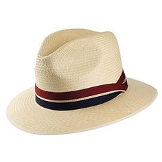 Olney Hats Safari Panama Fedora with Striped Band