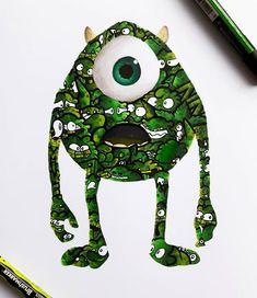 Mike Wazowski Doodle Art Monsters Inc Drawing Cute Doodle Art, Cool Doodles, Doodle Art Designs, Doodle Art Drawing, Art Drawings Sketches, Graffiti Doodles, Graffiti Art, Vexx Art, Doddle Art