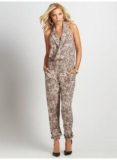 Sleeveless Leopard-Print Jumpsuit guess 2014