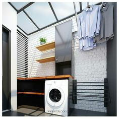 Cool 30 Charming Small Laundry Room Design Ideas For You. Outside Laundry Room, Outdoor Laundry Area, Small Laundry Area, Modern Laundry Rooms, Modern Room, Laundry Room Storage, Storage Room, Laundry Room Design, Storage Design