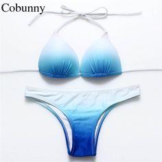 Cobunny 2017新しいセクシーなビキニセットレディース水着女性用水着勾配bikinisブラジルビーチウェアホルターネック水着