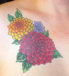Dahlias are my favorite flowers. They have so many colors and textures, truly versitile. Dahlia Tattoo, 3 Tattoo, Back Tattoo, Flower Tattoos, My Flower, Tatting, Piercings, Dahlias, Ink