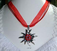 Edle Trachtenkette mit Edelweiß  Strass Rot von Edelweiss51 auf Etsy, €15.90