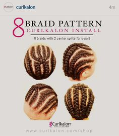 8 Braid Pattern: Here's the secret to how we get the perfect crochet install. Start with freshly washed and conditioned hair. Create an 8 braid pattern with a U part. (seen in our photo above) Crochet 10 curls onto each braid and repeat the pro Crochet Braid Pattern, Crochet Braid Styles, Braid Patterns, Crochet Twist, Natural Hair Inspiration, Natural Hair Tips, Natural Hair Journey, Natural Hair Styles, Natural Braids