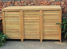 BENTLEY GARDEN WOODEN OUTDOOR WHEELIE BIN STORAGE SHED CUPBOARD UNIT - TRIPLE                                                                                                                                                      More
