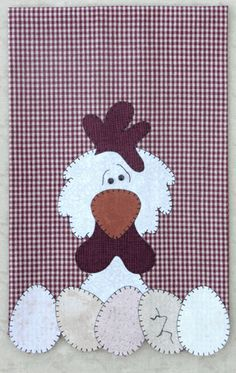 P11 Chicken Patternlet from the Farm Animals Group by The Wooden Bear- fusible applique tea towel pattern using two tiny black buttons for eyes.