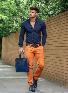 how to wear orange pants for men Mode Masculine, Men Looks, Look Fashion, Mens Fashion, Fashion Trends, Fashion 2017, Fashion News, Vogue Fashion, Party Fashion