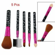 Rosallini 5 Pcs Black Leopard Print Handle Eye Face Care Brush Cosmetic Tool by Rosallini. $4.20. Material: Plastic, Metal, Synthetic Hair; Color: Brown, Black, White, Fuchsia. Total Size: Min.:10.8 x 0.8cm/ 4.2'' x 0.3'' (L*D); Max:12 x 3.2cm/ 4.7'' x 1.2''(L*W). Product Name: Make Up Brush. Package Content: 3 x Powder/Eye Liner/Eye Shadow Brush; 1 x Brow Comb. Net Weight: 36g. Design with the grayleopard pattern plastic handle and soft tip, can make your face look more natural....