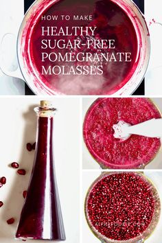 How to Make Sugar-free Pomegranate Molasses - a delicious pomegranate reduction used for a variety of sweet and savoury dishes Pomegranate Syrup Recipes, Pomegranate Jelly, Pomegranate Molasses, Molasses Recipes, Susan Recipe, New Recipes, Healthy Recipes, Healthy Desserts, Recipes