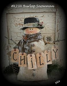 PRiMiTiVe Gift Hang Party Tags FolkArt Winter Snowman in HM Packaging FREE Ship