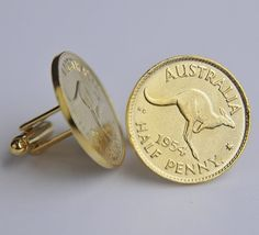 These Gold Plated Halfpenny Coin Cufflinks uses  Halfpennny Coins that are minted by the Commonwealth of Australia and were genuinely used in circulation pre-decimal currency. Price: AUD 39.95