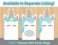 Save $$ and make your own UNICORN themed Favor Bags with these adorable Printable Templates! An affordable, yet unique way to make your Magical Party pop out! Please look at Pictures #3 and #5 to see all the printable templates included with this order. Assembling of the bags is