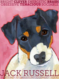 Jack Russell No. 1 magnets coasters and art prints by ursuladodge