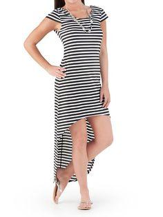 dots: Cap Sleeve Striped Hi Low Maxi Dress ... $20.00