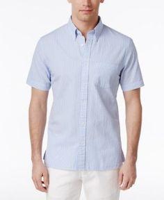 Brooks Brothers Red Fleece Men's Seersucker Shirt - Blue XXL