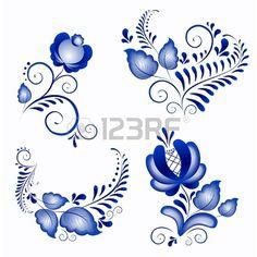 Ornamenti russi in stile Gzhel gzhel un marchio di ceramiche russe, dipinta di blu su bianco Archivio Fotografico