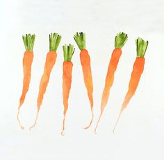 Fresh Carrots  Painting Watercolor Print  Vegetable by LaBerge, $11.00