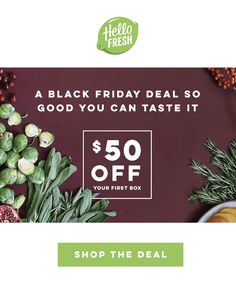 Limited time only! $50 off your first box! Feel like trying to eat healthier has become a full time job? Let HelloFresh take over – we'll do all the work, so you can just save time and eat better! ➜ Use code PINBF50 at checkout!