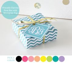 Free printable gift boxes with free personalized monogrammed gift tag.  This is amazing and you can choose from 8 colors!