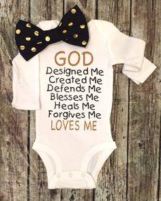 Baby meisje Onesie God gebeden Onesie antwoorden door BellaPiccoli
